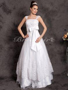 A-Linie Luxury bodenlang ärmellos Carmen-Ausschnitt Tülle Brautkleid - $194.99