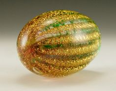 Italian Art Glass Gold Ribbed Paperweight