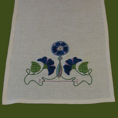 Craftsman Style Textiles, Hand Embroidery, Arts & Crafts Style, Morning Glory Table Runner Close Up