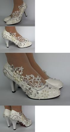 Wedding Shoes And Bridal Shoes: Pumps White Ivory Lace Pearls And Crystal Pumps Wedding Shoes Size 5-9.5 Heel 3 -> BUY IT NOW ONLY: $39.96 on eBay!