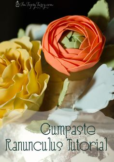 an easy tutorial for gumaste ranunculus edible flower, perfect for a wedding cake