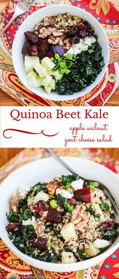 Quinoa Beet Kale Apple Walnut Goat Cheese Salad - a hearty and healthy winter salad perfect for lunch or dinner /womens fitness/yoga beginners/weight loss tips/healthy vegan recipes/ Clean Eating, Healthy Eating, Vegetarian Recipes, Cooking Recipes, Healthy Recipes, Goat Cheese Salad, Dinner Salads, Soup And Salad, Beets