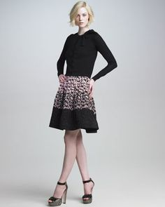 Bow-Neck Cardigan & Tiered Flocked-Leaf Skirt by RED Valentino at Neiman Marcus.