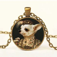 Elizabethan #chihuahua Pendant Altered Art Pendant Necklace Dog Jewelry Steampunk