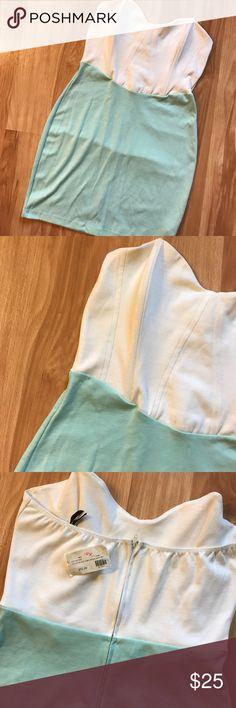 Strapless dress Sea foam green and white color block tube dress Dresses