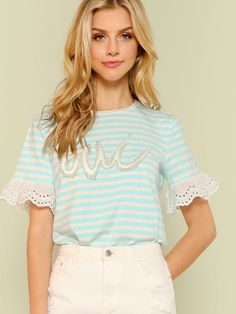 Online shopping for Striped Accent Tee with Eyelet Detail LIGHT BLUE from a great selection of women's fashion clothing & more at MakeMeChic. Marina Laswick, Girl Fashion, Womens Fashion, Trendy Outfits, Light Blue, Ruffle Blouse, Tees, Clothes, Detail