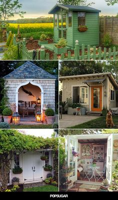 "Every woman should have her own backyard escape! These ""She Sheds"" are perfect for relaxing, creating, and loving life."