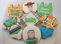 toy story cakes and baby shower ideas Toy Story Nursery, Toy Story Baby, Toy Story Theme, Toy Story Birthday, Baby Boy Cookies, Baby Shower Cookies, Fun Cookies, Cake Baby, Decorated Cookies