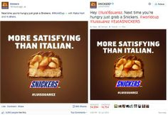 Engagement on 11 Million Fans VS 50K Followers - same post; same time - #snickers #worldcup