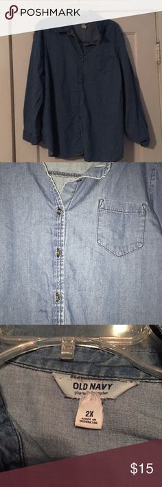 Chamberry Button Down This collard blue jean top. Features a pocket on the left of the chest. Also is a button down which means it can be used for layering. Old Navy Tops