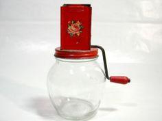 Vintage Red Glass Metal Nut Chopper Kitchen Utensils Flower Wood Handle Grinder