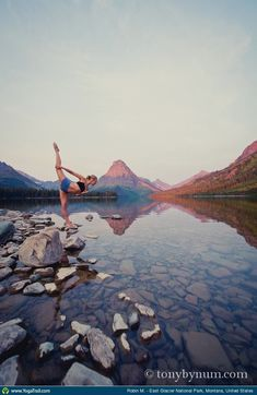 "Yoga Poses Around the World: ""Sunrise at Two Medicine Lake - Glacier National Park, MT"""