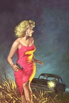 Pulp cover art by Robert Maguire.  Woman dame girl blonde pistol gun chase car danger red dress