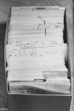 Author Vladimir Nabokov's researched materials on file cards for his book 'Lolita'.