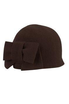 seeberger wool hat bow dark brown brown Direct leverbaar uit de webshop van www.ilovevintage.nl/