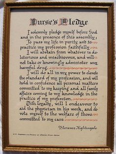 Florence Nightingale's Nurses' Pledge