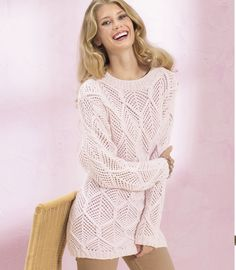 Розовый джемпер с ажурными ромбами - схема вязания спицами. Вяжем Джемперы на Verena.ru