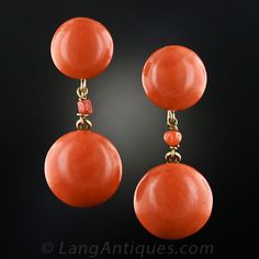 Large Coral Button Earrings, Coral buttons of deep salmon colour backed in 18 karat yellow gold, original clip backs are gold filled.