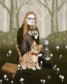 Autumn Illustration, Pretty Drawings, Fairytale Art, Human Art, Moon Art, Illustrations, Whimsical Art, Pretty Art, Cat Art