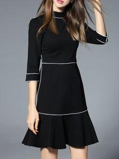 Black Collar Frill Shift Dress