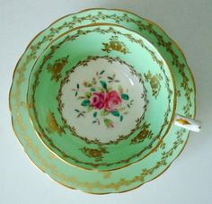 Vintage Tea Cup and Saucer Set, Mint Green Teacup and Saucer, Cup and Saucer Set, Teacup. $38.00, via Etsy.