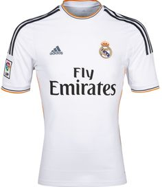And this for Marius - he loves any shirt as long as it has Adidas stripes down the sleeves . Real Madrid Home Shirt 13-14 Adidas Fly Emirates