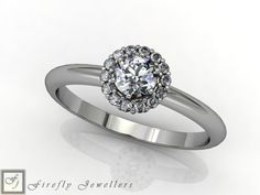 Halo engagement ring made of white gold and diamonds. (Source: www.fireflyjewel.co.za) Rose Gold Engagement, Halo Diamond Engagement Ring, Pink Sapphire, Heart Ring, Diamonds, White Gold, Wedding Rings, Jewelry, Jewlery