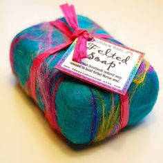 My new felted soap - 'Mermaids Euphoria' It is a bar of my handmade, natural soap felted in a tropical ocean blend of merino wool. Inspired by one of my felt wallhangings! Wet Felting Projects, Felt Projects, School Projects, Felted Soap, Positive Art, Soap Packaging, Packaging Ideas, Soap Recipes, Handmade Soaps