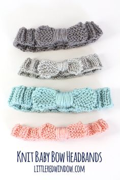 The knit bow baby headband is such a quick and satisfying baby knit pattern, youll want to make your knitted headband in a bunch of different colors! These cute baby small headbands make excellent baby shower gifts. The pattern includes sizes 0-3 all the way up to toddler and they