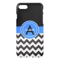 Black Blue Chevron iPhone 8/7 Case #chevron #iphone #cases #protectiion