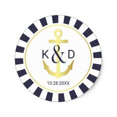 Navy and Gold Nautical Wedding Classic Round Sticker - Sold at Oasis_Landing on Zazzle.