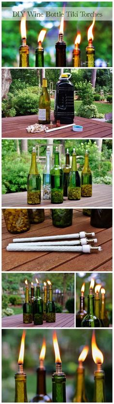 19 Diy Wine Bottle crafts: make art from emptiness- tiki torches- for the balcony Empty Wine Bottles, Wine Bottle Corks, Lighted Wine Bottles, Recycled Bottles, Wine Bottle Crafts, Glass Bottles, Bottle Lights, Recycled Crafts, Vodka Bottle