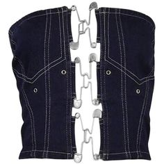 Preowned Jean Paul Gaulter Denim Safety Pin Bustier ($500) ❤ liked on Polyvore featuring tops, shirts, corset, crop top, black, bustier, denim bustier top, crop tops, denim crop tops and vintage shirts