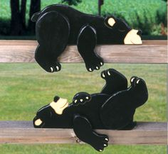 Lazy Bear Cubs Rail Pets Pattern Add a whimsical touch to fences or handrails with these adorable lazy bears. #diy #woodcraftpatterns