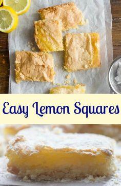 Easy Fresh Lemon Squares, the best, easy lemon squares recipe, a delicious shortbread crust and a yummy lemony filling. Lemon Desserts, Lemon Recipes, Easy Desserts, Sweet Recipes, Delicious Desserts, Dessert Recipes, Dessert Dishes, Bar Recipes, Dessert Ideas