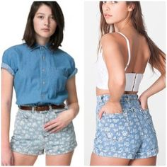 AA High Waisted Shorts Willing to trade for other AA jeans. Super cute printed high waisted shorts with little white flowers all over. This is a re-posh. I've never really gotten around to wearing these but they're super cute  American Apparel Shorts Jean Shorts
