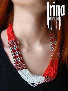 Folk Ukrainian necklace . Ukrainian Beads by IrinaHaluschak