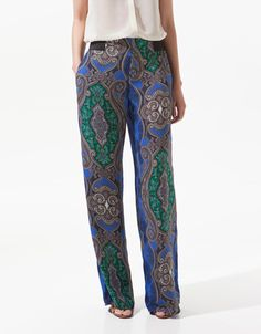 WIDE PAISLEY PRINT TROUSERS - Trousers - Woman - ZARA United States