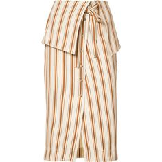 Rosie Assoulin folded waist striped skirt ($1,295) ❤ liked on Polyvore featuring skirts, beige, foldover skirts, white skirt, stripe skirt, rosie assoulin and white striped skirt