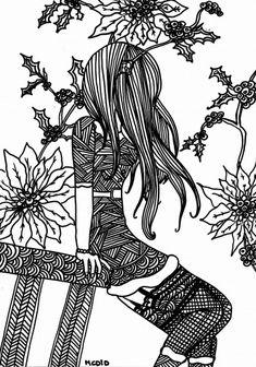 Free coloring page printable. Christmas girl. Gratis kleurplaat voor volwassenen. Kerstmeisje.