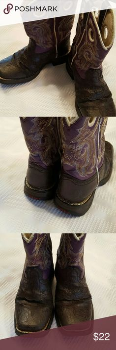 Preloved Girls Durango Cowgirl Boots sz 12 These are so awesome! Purple and brown Cowgirl Boots. These are preloved but still have a lot of wear left. Soles are in great shape. See last pic for wear spots. Leather/vinyl starting to peel near creases on front sides and toes could use a little polish. Sz 12. Durango Shoes Boots