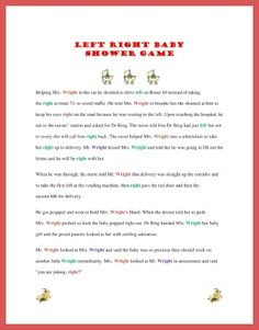 left right baby shower game and more...