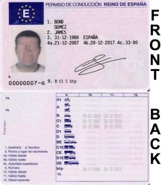 Spain driving license