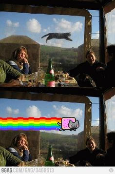 Look in the Sky!   Is it a airplane? NO  Is it a cat? NO  It's.... NYAN CAT!