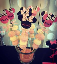 Yummy marshmallow sticks at a Minnie Mouse birthday party! See more party ideas at CatchMyParty.com!