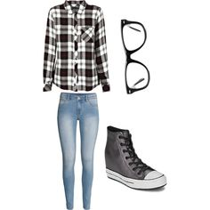 Day out by alannaxjonnesx on Polyvore featuring polyvore, fashion, style, Rails, H&M, Converse and Muse