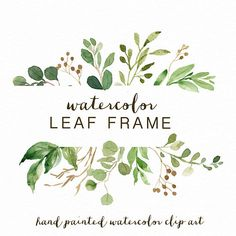 Watercolor Leaf frame/leaves/wedding invitation/clipart/