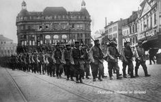 World War I, German infantry in Brussels, Belgium, 1914
