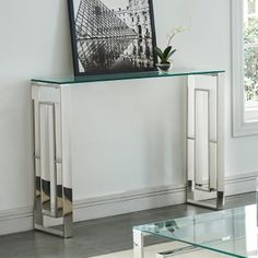 House of Hampton Menzel Stainless Steel Console Table Colour: Chrome Silver Console Table, Narrow Console Table, Rustic Furniture, Table Furniture, Steel Furniture, Furniture Stores, Furniture Websites, Furniture Outlet, Online Furniture