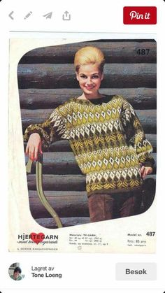 Vintage Knitting, Hand Knitting, Embroidery Patterns, Knitting Patterns, Norwegian Knitting, Nordic Sweater, Hand Knitted Sweaters, Old Magazines, Sweater Design